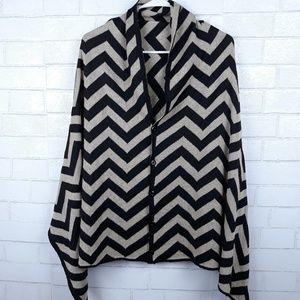 Black Gold Chevron Sweater Poncho Cape Hi …